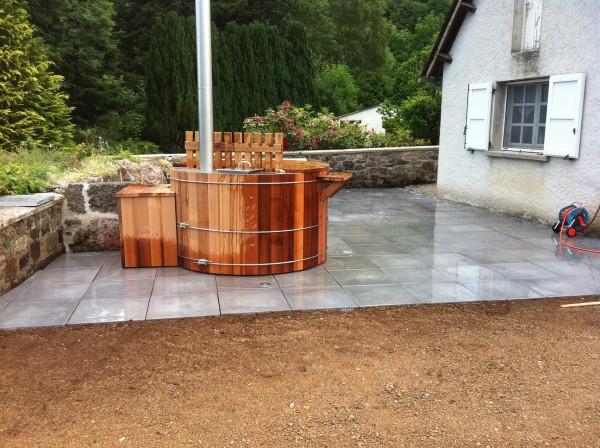 Terrasse dalles et bain norvégien La Charmille Paysagiste mauriac le falgoux