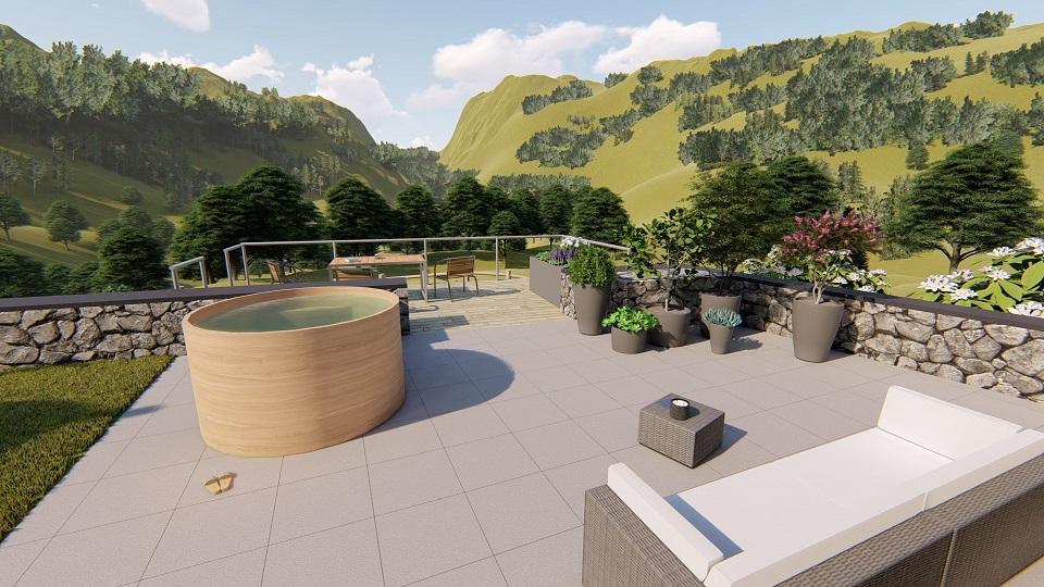 Terrasse dalles, bain norvégien et terrasse bois